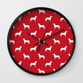 Husky dog pattern simple minimal basic dog silhouette huskies dog breed red and white Wall Clock