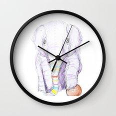 Striped Elephant Illustration Wall Clock