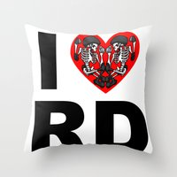 roller derby Throw Pillows featuring I heart roller derby by Andrew Mark Hunter