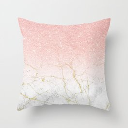 Rose Gold Glitter and gold white Marble Throw Pillow