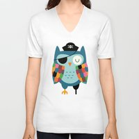 captain V-neck T-shirts featuring Captain Whooo by Andy Westface