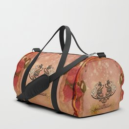 Decorative dragon with floral elements Duffle Bag