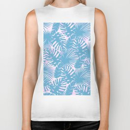 Modern teal pink watercolor tropical floral leaves Biker Tank