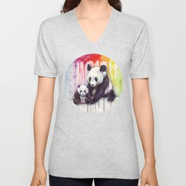 Rainbow Pandas Watercolor Mom and Baby Panda Nursery Art Unisex V-Neck