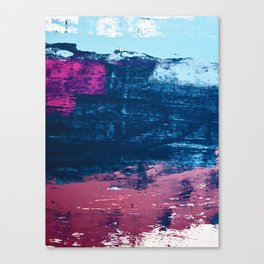 Early Bird [2]: A vibrant minimal abstract piece in blues and pink by Alyssa Hamilton Art Canvas Print