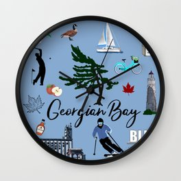 Images of Georgian Bay on Blue Wall Clock