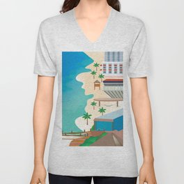 Cancun, Mexico - Skyline Illustration by Loose Petals Unisex V-Neck