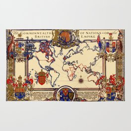 Map Of The British Empire 1937 Rug