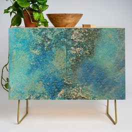 Blue And Gold Modern Abstract Art Painting Credenza