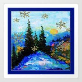 Blue Snowy Mountain Scenic Landscape Art Print