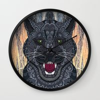 panther Wall Clocks featuring Panther by ArtLovePassion