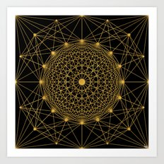 Geometric Circle Black and Gold Art Print