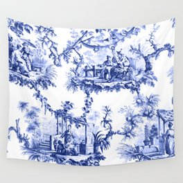 Blue Chinoiserie Toile Wall Tapestry