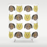 kit king Shower Curtains featuring kit & pup by carolinegeys
