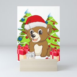 Santa Cute Bear Christmas T-Shirt Mini Art Print