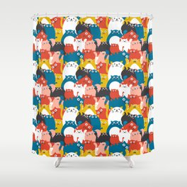 Cats Crowd Pattern Shower Curtain