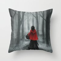 red hood Throw Pillows featuring Red Hood by Svenja Gosen