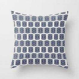 Geometric Honeycomb in Navy Throw Pillow