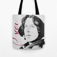 oscar wilde Tote Bags featuring Oscar by beecharly