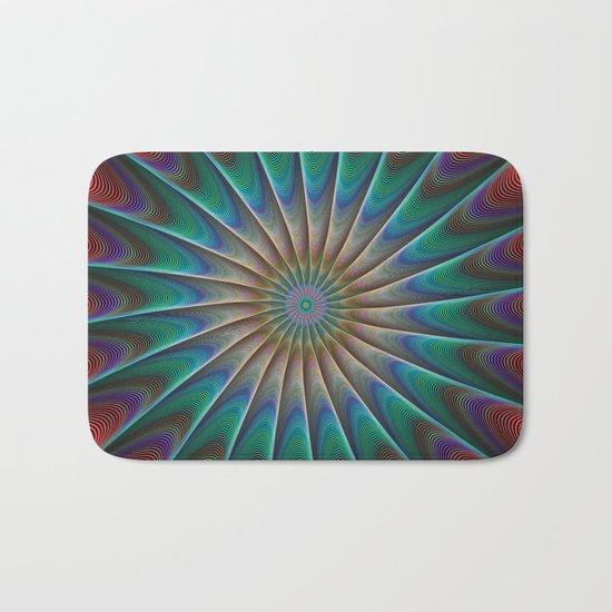 Peacock fractal Bath Mat