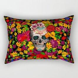 Day of the dead sugar skull flower Rectangular Pillow