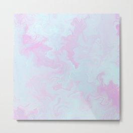 Elegant pink teal watercolor abstract marble Metal Print
