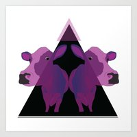 psychadelic Art Prints featuring Psychadelic cows by Lisa Hamberg