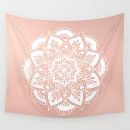 Flower Mandala on Rose Gold Wall Tapestry