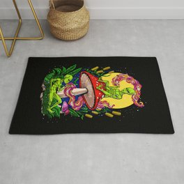 Aliens Magic Mushrooms Smoking Psychedelics Rug