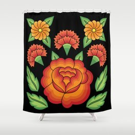 Mexican Folk Pattern – Tehuantepec Huipil flower embroidery Shower Curtain