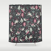 woodland Shower Curtains featuring Woodland Birds by Anna Deegan