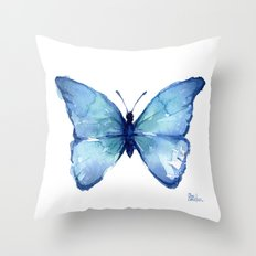 Blue Butterfly Watercolor Throw Pillow