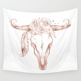 Rose Gold Bull Skull with Pink Feather Flowers Wall Tapestry