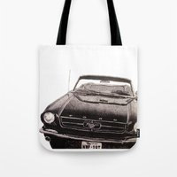 mustang Tote Bags featuring Mustang by Lindsay Carter
