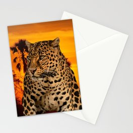 Leopard and Sunset Stationery Cards