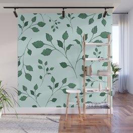 Light Cyan Soft Mint Green Leaves Greenery Pattern Modern Décor Wall Mural