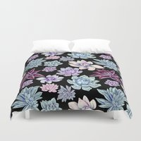 succulents Duvet Covers featuring Succulents by Miranda Montes