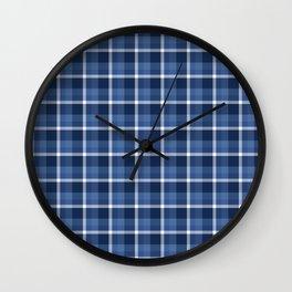 Navy Plaid Wall Clock