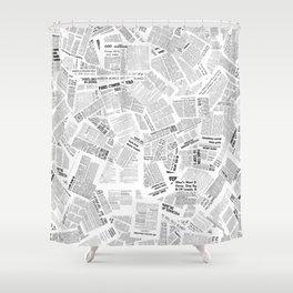 Newspaper Print Shower Curtain