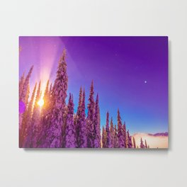 winter mountain sky forest gradient 0276 Metal Print