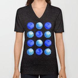 Winter Blue Watercolor Large Dots Pattern Unisex V-Neck