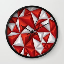 Red and white diamonds pattern Wall Clock