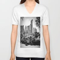 central park V-neck T-shirts featuring Central Park by Petra Heitler