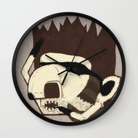 racoon Wall Clocks featuring Raino Racoon by René Barth