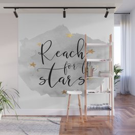 REACH FOR The STARS, Stars Gift,Stars And The Moon,Kids Room Decor,Watercolor Print,Gold Star Wall Mural