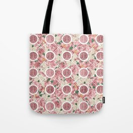 Double Happiness Symbol on Gentle Peony pattern Tote Bag