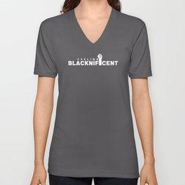 Feeling Blacknificent Black Proud Unisex V-Neck