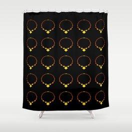 Beautiful Luminous Necklace Pattern on Black Illustration Shower Curtain
