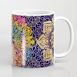 Beautiful Navy, Gold & Rainbow Bohemian Mandala Pattern Coffee Mug