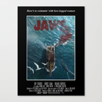 1975 Canvas Prints featuring Jaws - 1975 variant by Andy Fairhurst Art